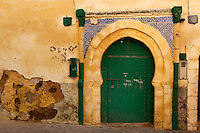 """Ruined building with horseshoe arched entrance, old city of the Portuguese Fortified city of Mazagan, El Jadida, Morocco. El Jadida, previously known as Mazagan (Portuguese: Mazag""""o), was seized in 1502 by the Portuguese, and they controlled this city until 1769.  Picture by Manuel Cohen"""