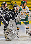 1 February 2015: Providence College Friar Goaltender Allie Morse, a Junior from Cottage Grove, MN, in second period action against the University of Vermont Catamounts at Gutterson Fieldhouse in Burlington, Vermont. The Friars fell to the Lady Cats 7-3 in Hockey East play. Mandatory Credit: Ed Wolfstein Photo *** RAW (NEF) Image File Available ***