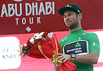 Mark Cavendish (GNR) Team Dimension Data wears the points Green Jersey at the end of Stage 3 Al Maryah Island Stage of the 2017 Abu Dhabi Tour, starting at Al Ain and running 186km to the mountain top finish at Jebel Hafeet, Abu Dhabi. 25th February 2017<br /> Picture: ANSA/Matteo Bazzi | Newsfile<br /> <br /> <br /> All photos usage must carry mandatory copyright credit (&copy; Newsfile | ANSA)
