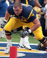 September 4, 2010: WVU offensive lineman Don Barclay. The West Virginia Mountaineers defeated the Coastal Carolina Chanticleers 31-0 on September 4, 2010 at Mountaineer Field, Morgantown, West Virginia.