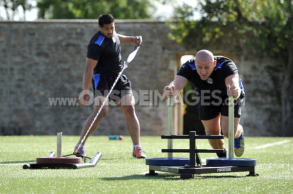 Carl Fearns in action. Bath Rugby pre-season training session on August 18, 2014 at Farleigh House in Bath, England. Photo by: Patrick Khachfe/Onside Images