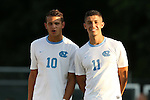 14 August 2015: North Carolina's David October (ENG) (11) and Zach Wright (10). The University of North Carolina Tar Heels hosted the Winthrop University Eagles at Fetzer Field in Chapel Hill, NC in a 2015 NCAA Division I Men's Soccer preseason exhibition. North Carolina won the game 4-1.