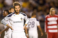 LA Galaxy midfielder David Beckham waits patiently for a FC Dallas cornerkick. FC Dallas defeated the LA Galaxy 3-0 to win the Western Division 2010 MLS Championship at Home Depot Center stadium in Carson, California on Sunday November 14, 2010.