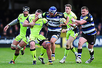 Leroy Houston of Bath Rugby takes on the Sale Sharks defence. Aviva Premiership match, between Bath Rugby and Sale Sharks on April 23, 2016 at the Recreation Ground in Bath, England. Photo by: Patrick Khachfe / Onside Images