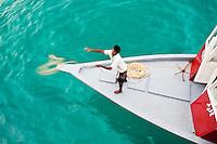 The Dohni Dolphin docks alongside the Vaagali MV during a surfing safari boat trip in the Maldives (Monday, June 8th, 2009). Photo: joliphotos.com