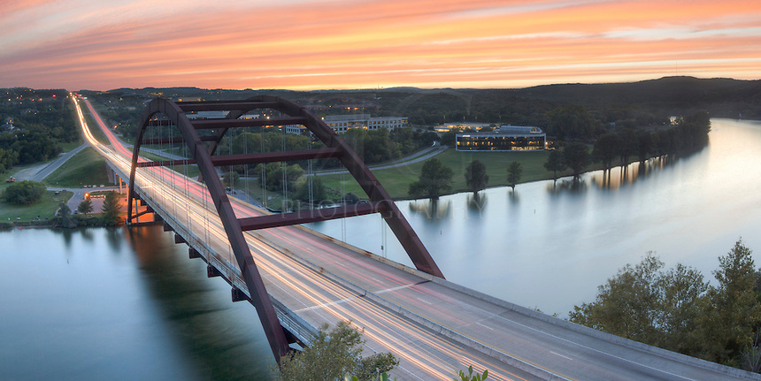 This image of Pennybacker Bridge near Austin Texas is a panorama made of two images. I knew it would be a good sunset, so I headed to one of my favorite places - the cliffs above the 360 Bridge - and waited for the light show to being. This image is a 2:1 (20x10) ratio, but can be 3:1 (30x10 or similar).