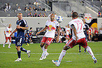 Thierry Henry (14) of the New York Red Bulls watches as Juan Agudelo (17) scores the game tying goal. The New York Red Bulls  and the Vancouver Whitecaps played to a 1-1 tie during a Major League Soccer (MLS) match at Red Bull Arena in Harrison, NJ, on September 10, 2011.