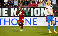 Frisco, TX - April 6, 2017: The U.S. Women's national team go up 1-0 over Russia with Crystal Dunn adding a goal in an international friendly match at Toyota stadium.