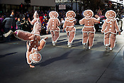 Gingerbread march backward in the Raleigh Christmas Parade, Raleigh, NC, Saturday, November 19, 2011.