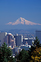 Downtown skyline and Mount Hood with snow, from Washington Park; Portland, Oregon.