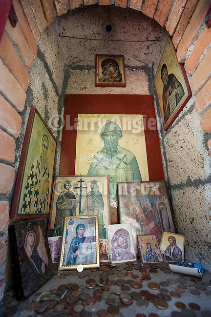 Shrine and icons at the start of the climb to The Holy Monastery of Great Meteoron, Meteora, Greece