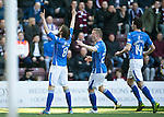 Hearts v St Johnstone&hellip;19.03.16  Tynecastle, Edinburgh<br />Murray Davidson celebrates his first goal<br />Picture by Graeme Hart.<br />Copyright Perthshire Picture Agency<br />Tel: 01738 623350  Mobile: 07990 594431