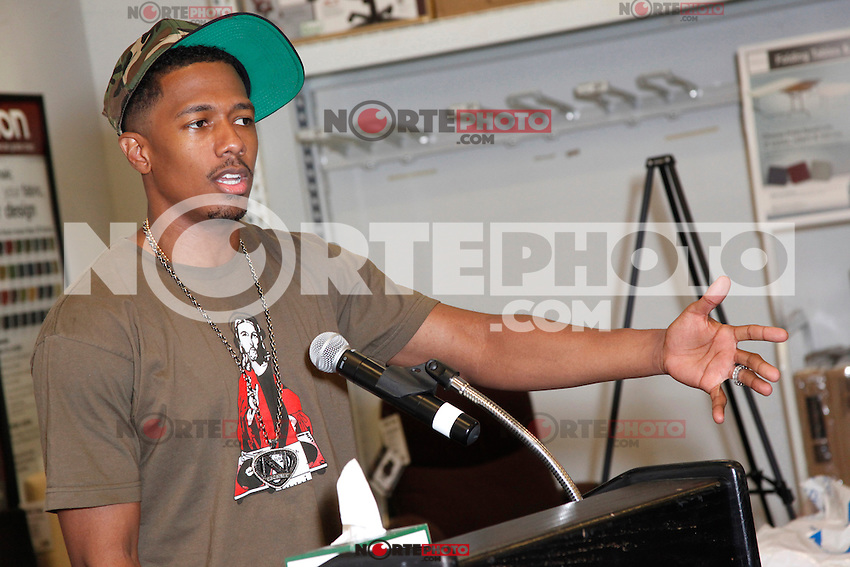 Nick Cannon pictured at Office Depot in Plymouth Meeting, Pa to help donate 5000 sackpacks to Philadelphia area children on August 23, 2012  &copy; Star Shooter / MediaPunchInc /NortePhoto.com<br />