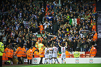 LIVERPOOL, ENGLAND - Thursday, October 4, 2012: Udinese Calcio's players and supporters celebrate the opening goal against Liverpool during the UEFA Europa League Group A match at Anfield. (Pic by David Rawcliffe/Propaganda)