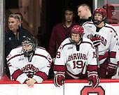 John O'Donnell (Harvard - Equipment Manager), Cameron Gornet (Harvard - 32), Jake Horton (Harvard - 19), Eddie Ellis (Harvard - 7) - The Harvard University Crimson defeated the US National Team Development Program's Under-18 team 5-2 on Saturday, October 8, 2016, at the Bright-Landry Hockey Center in Boston, Massachusetts.