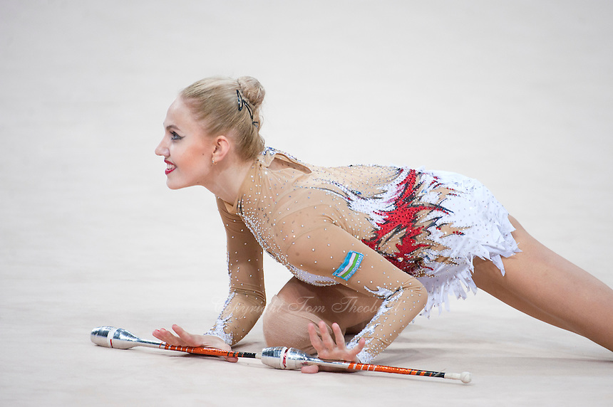 September 11, 2015 - Stuttgart, Germany -  ELIZAVETA NAZARENKOVA  of Uzbekistan performs during AA final at 2015 World Championships.