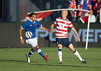 03 June 2012: US Men's National Soccer Team midfielder Michael Bradley #4 and Canadian Men's National Soccer Team forward Dwayne De Rosario #14 in action during an international friendly  match between the United States Men's National Soccer Team and the Canadian Men's National Soccer Team at BMO Field in Toronto..The game ended in 0-0 draw..