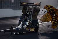 Nov. 10, 2012; Pomona, CA, USA: NHRA top fuel dragster driver Troy Buff during qualifying for the Auto Club Finals at at Auto Club Raceway at Pomona. Mandatory Credit: Mark J. Rebilas-