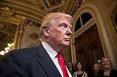 United States President Donald Trump leaves the President's Room of the Senate at the Capitol after he formally signed his cabinet nominations into law, in Washington, Friday, Jan. 20, 2017. <br /> Credit: J. Scott Applewhite / Pool via CNP