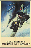 BNPS.co.uk (01202 558833)<br /> Pic: Onslows/BNPS<br /> <br /> ***Please use full byline***<br /> <br /> A poster in Portuguese which reads 'RAF Hurricanes cooperating with the Russian Air Force'<br /> <br /> A fascinating archive of propaganda posters used to boost the moral of British soldiers and citizens during the Second World War has emerged for sale.<br /> <br /> Among the collection are rousing images of Allied desert tanks destroying their Nazi opponents, marine commandos storming an occupied village and RAF bombers striking German factories.<br /> <br /> Others feature the capture of a German U-Boat and a British navy cruiser broadsiding an Italian submarine.<br /> <br /> The scenes are accompanied by equally stirring messages reassuring that &ldquo;the fall of the dictators is assured&rdquo; and that Great Britain was the &ldquo;defender of liberty&rdquo;.<br /> <br /> Many of the posters were destined for display overseas where troops had little idea of how the Allies were faring against the Nazis overall.