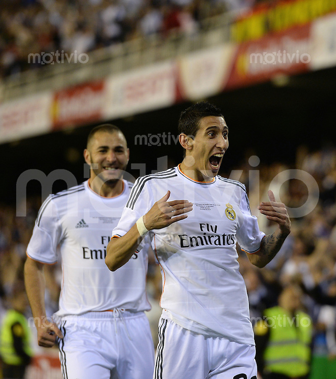 FUSSBALL  INTERNATIONAL Copa del Rey FINALE  2013/2014    FC Barcelona - Real Madrid            16.04.2014 JUBEL Real Madrid; Torschuetze zum 0-1 Angel Di Maria und Karim Benzema (hinten)
