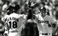 San Francisco Giants Kirt Manwaring gets high five from Mike Benjamin as he crosses home after Home Rune. (photo 1993/Ron Riesterer)