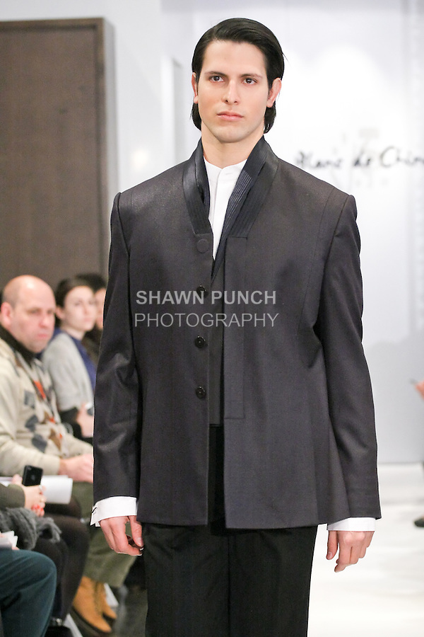 Model walks runway in an outfit from the Blanc de Chine Fall/Winter 2011 &quot;The Five Elements&quot; collection, during New York Fashion Week Fall 2011.