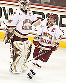 Molly Schaus (BC - 30) and Kelli Stack (BC - 16) celebrate the first of Stack's three goals. - The Boston College Eagles defeated the visiting Harvard University Crimson 6-2 on Sunday, December 5, 2010, at Conte Forum in Chestnut Hill, Massachusetts.