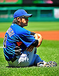 3 July 2010: New York Mets relief pitcher Ryota Igarashi stretches out prior to a game against the Washington Nationals at Nationals Park in Washington, DC. The Nationals defeated the Mets 6-5 in the third game of their 4-game series. Mandatory Credit: Ed Wolfstein Photo