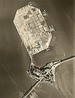 historical aerial photograph Treasure Island, Yerba Buena Island, San Francisco, California, 1956