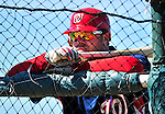 1 March 2010: Washington Nationals' first baseman Adam Dunn watches batting practice during Spring Training at the Carl Barger Baseball Complex in Viera, Florida. Mandatory Credit: Ed Wolfstein Photo