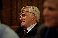 John McDonnell, MP - 2012<br /> <br /> London, 19/04/2012. House of Parliament, Committee Room 12. NUJ (National Union of Journalists) organised a meeting to discuss the protection of sources and journalistic material in production order cases. From the NUJ London Photographer Branch (LPB) website: &lt;&lt;All those involved (freelance video journalist Jason Parkinson, BBC, ITN, BskyB, Hardcash Productions) in the Dale Farm production order case have shown great concern at the increase in the use of production orders against the media over the last 18 months and the fear is journalists are being forced into becoming the eyes and ears of the state. The consequences of this can have serious implications towards the impartiality and safety of journalists in the future&gt;&gt;. The speakers included: John Battle (ITN Head of Compliance), Gavin Millar QC (Doughty Street Chambers, lawyer specialised in media, public, employment and discrimination law), Jason Parkinson (NUJ freelance video journalist), Michelle Stanistreet (NUJ general secretary). Chair of the event was Austin Mitchell (Labour MP).