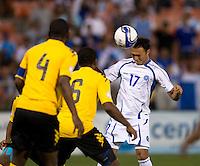Lester Blanco (17) of El Salvador heads the ball towards goal at RFK Stadium in Washington, DC.  Jamaica defeated El Salvador, 2-0.
