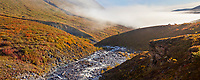 Panorama  of morning fog over a backpacking tent campsite on a mountain ridge along Arrigetch creek, Arrigetch Peaks, Gates of the Arctic National Park, Alaska.