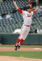NWA Democrat-Gazette/ANDY SHUPE<br /> Harding Academy starter Peydon Harlow celebrates Friday, May 19, 2017, after the Wildcats' 4-0 win over Greenland during the Class 3A state championship game at Baum Stadium in Fayetteville. Visit nwadg.com/photos to see more photographs from the game.