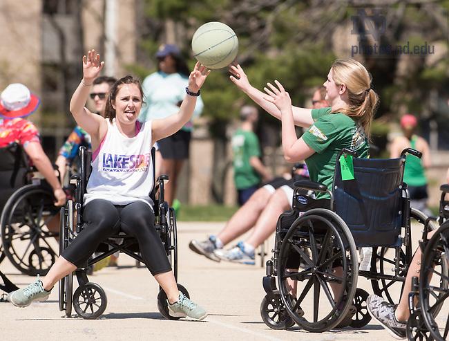 April 17, 2016; Ryan Hall Wheelchair Basketball Tournament. (Photo by Barbara Johnston/University of Notre Dame)