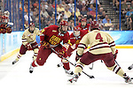 07 APR 2012:  Andy Huff (18) of Ferris State University tries to make a move past Tommy Cross (4) of Boston College during the Division I Men's Ice Hockey Championship held at the Tampa Bay Times Forum in Tampa, FL.  Boston College defeated Ferris State 4-1 to win the national title.  Matt Marriott/NCAA Photos