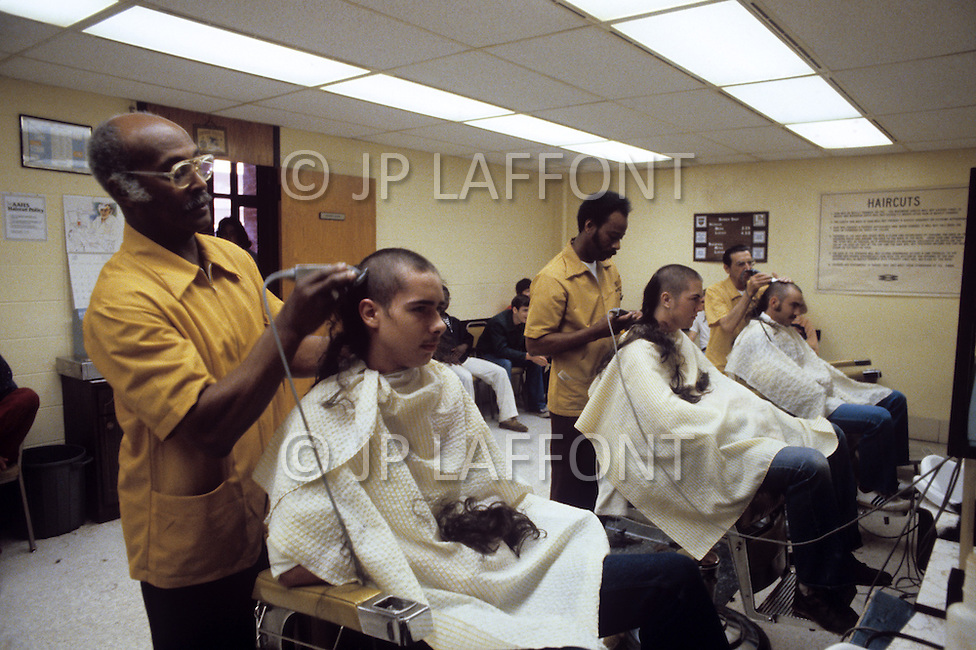 Fort Dix, NJ, USA, June 1980. Haircut is one of the first steps for the recruits once enrolled in the Army.