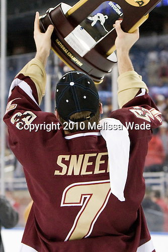 Carl Sneep (BC - 7) hoists the Title. - The Boston College Eagles defeated the University of Wisconsin Badgers 5-0 to win the NCAA Division 1 national championship at the 2010 Frozen Four on Saturday, April 10, 2010, at Ford Field in Detroit, Michigan.