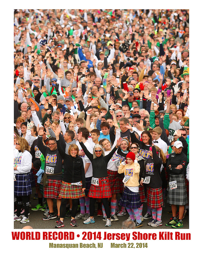 The crowd of more than 3,000 participants swells at the starting line to begin the world-record Kilt Run at the Manasquan beachfront on Sat., March, 22, 2014.