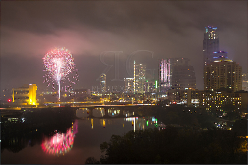 On a foggy, rainy New Year's Eve, revelers were still treated to a brilliant fireworks display from Auditorium Shores. Folks also gathered on the 1st Street Bridge and the Congress Bridge. The clouds broke just enough to get a few good glimpses of the impressive display...I was fortunate to take in the show from a high rise just east of downtown Austin. Thanks to the folks that made this happen. We'll do it again next year!