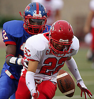 The Southside High School Cardinals play the Jefferson High School Mustangs, Saturday, Sept. 12, 2009, at SAISD Alamo Stadium in San Antonio, Texas. (Darren Abate/pressphotointl.com)