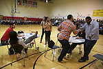 Teachers performed a 'what not to do during exams' skit.