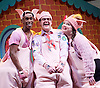 Stiles &amp; Drewe&rsquo;s <br /> The Three Little Pigs at Palace Theatre, London, Great Britain press photocall 5th August 2015 <br /> Simon Webbe as The Wolf<br /> <br /> Leanne Jones <br /> Daniel Buckley <br /> Taofique Folarin<br /> as the Pigs <br /> <br /> Alison Jiear as Mummy Pig <br /> <br /> Photograph by Elliott Franks <br /> Image licensed to Elliott Franks Photography Services