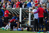 Seattle, WA - Thursday, June 16, 2016: United States head coach Jürgen Klinsmann reacts to the referee during the Quarterfinal of the 2016 Copa America Centenrio at CenturyLink Field.