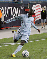 Colorado Rapids forward Omar Cummings (14) crosses the ball towards goal.  The Colorado Rapids defeated the New England Revolution, 2-1, at Gillette Stadium on April 24.2010