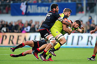 Owen Williams of Leicester Tigers is tackled in possession. Aviva Premiership match, between Saracens and Leicester Tigers on October 29, 2016 at Allianz Park in London, England. Photo by: Patrick Khachfe / JMP