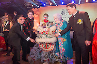 Canadian Prime Minister Justin Trudeau and former Mississauga mayor Hazel McCallion (in blue dress on right of dragon) attend the 27th Annual Dragon Ball Gala in celebration of the Chinese New Year,<br />  February 6, 2016.<br /> Moment during &quot;eye-dotting&quot; ceremony.<br /> PHOTO : J. Adam Huggins - Agence Quebec Presse