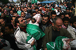 Palestinians carry the bodies of senior Hamas leader Nizar Rayyan and his family, who were killed in an Israeli air strike on their home on Thursday, during their funeral in Jabalya in the northern Gaza Strip. APAIMAGES PHOTO / Ashraf Amra