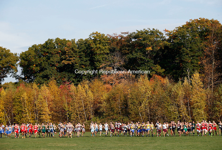 Watertown, CT- 21 October 2015-102115CM11-  Boys begin the varsity race during the XC championships at Veterans Memorial Park in Watertown on Wednesday.  Naugatuck's Grady Beasley was the boys overall winner, with Naugatuck taking the team title.     Christopher Massa Republican-American